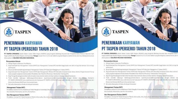 Lowongan Kerja BUMN Terbaru 2019! PT Taspen untuk Lulusan S1, Ini Syarat dan Batas Waktu Daftar!