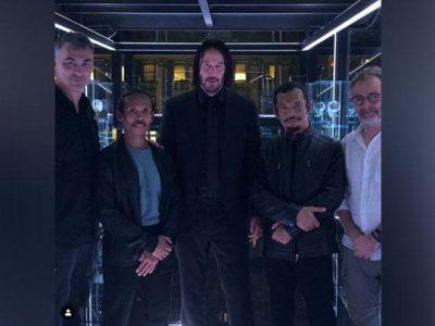 Yayan Ruhian dan Cecep Arif Rahman, berfoto bersama Keanu Reeves dan Chad Stahelski setelah syuting John Wick: Chapter 3 Parabellum. Instagram/@yayanruhian