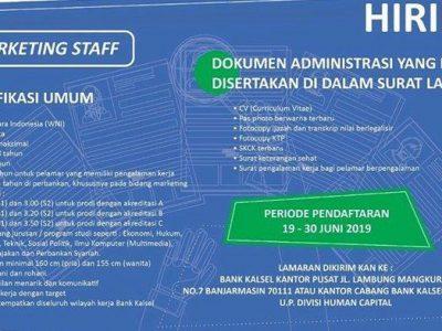 Bank Kalsel Buka Kesempatan Berkarir untuk Posisi Marketing Staff, Berikut Syaratnya